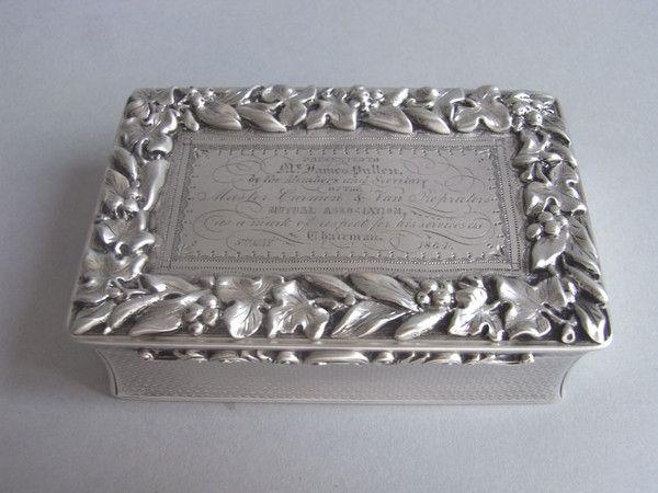 A Guillermo IV Tabla Tabaco Caja fina hecha en Londres en 1833 por Rawlings y Summers.