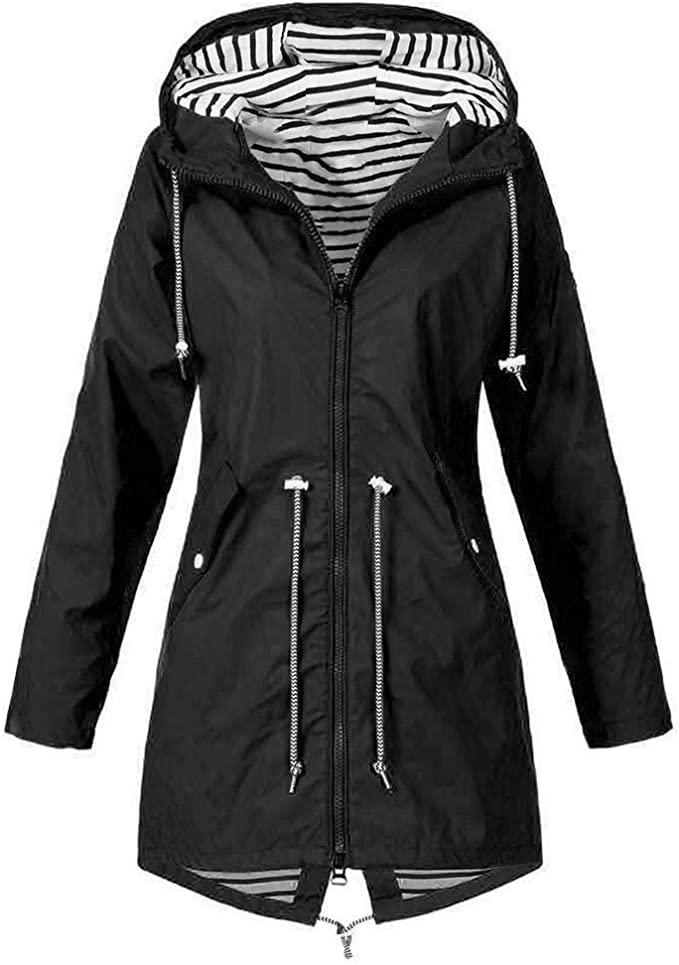 Amazon Com Lutos Women S Plus Size Fleece Lined Windbreaker Rain Jacket Waterproof Lightweight Ou In 2020 Rain Jacket Women Rain Jacket Women Raincoat Long Rain Coat