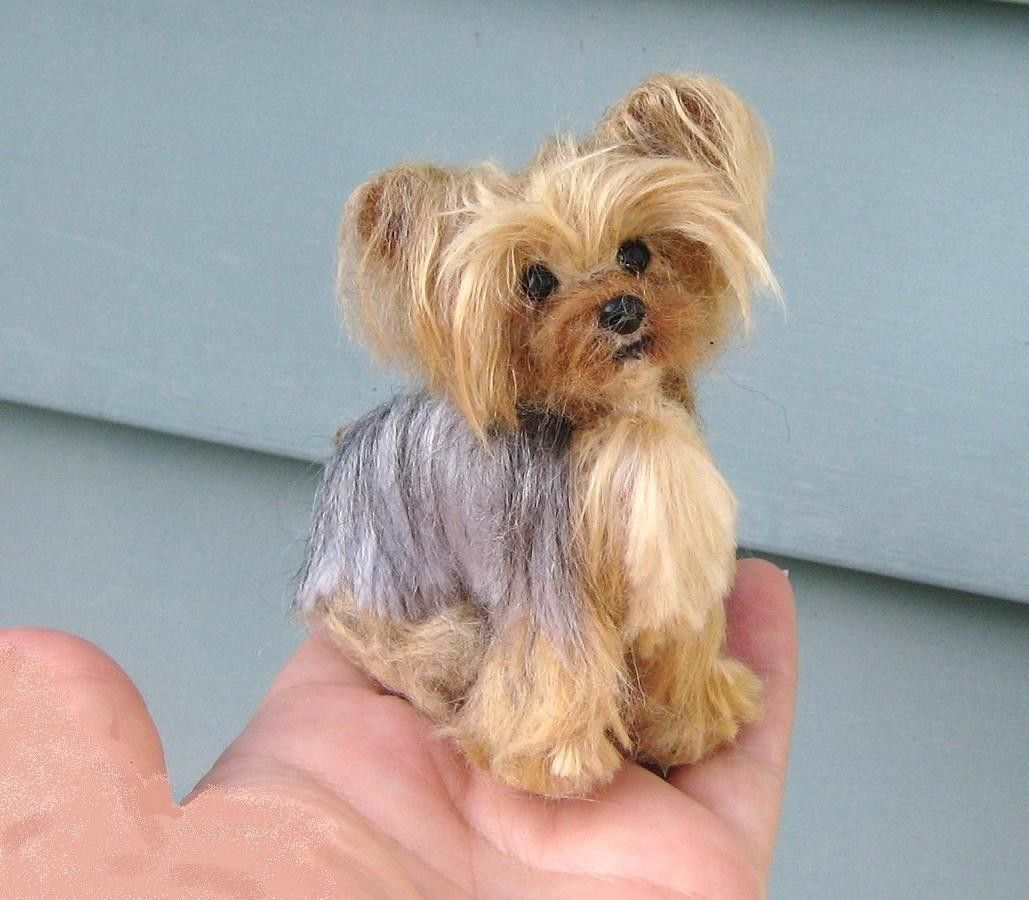 Your Pet in Miniature / Custom made / Cute / Poseable / Vegan Yorkshire Terrier / Needle Felted. $250.00, via Etsy.