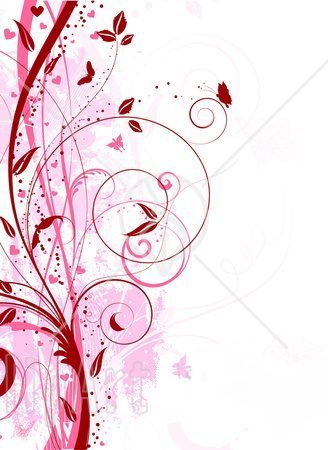 Pink Floral   And-Pink-Floral-Grunge-Vine-And-Butterfly-Background-Over-White ...