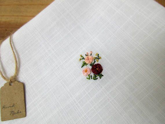 Men handkerchief hand miniature flower embroidery linen cotton