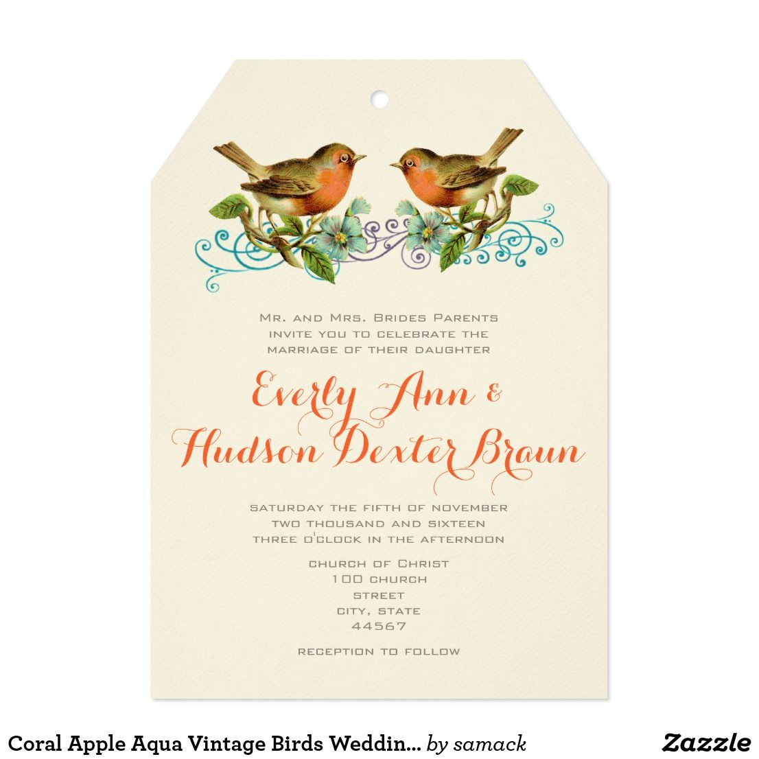 Coral Apple Aqua Vintage Birds Wedding Invitation | Invites wedding ...
