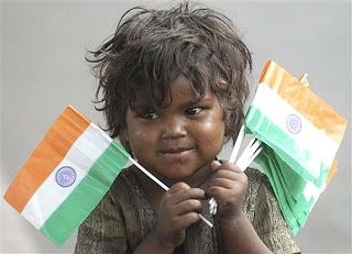 Image result for a boy carrying india flag