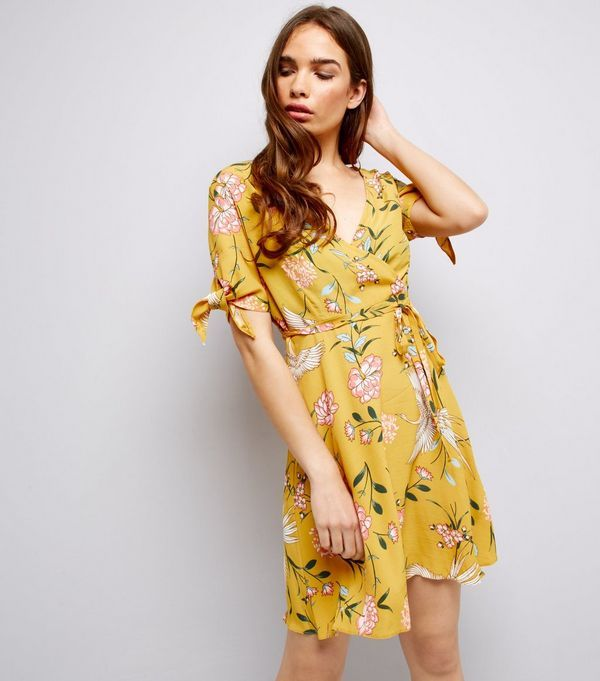Yellow Floral Print Tie Sleeve Wrap Front Skater Dress