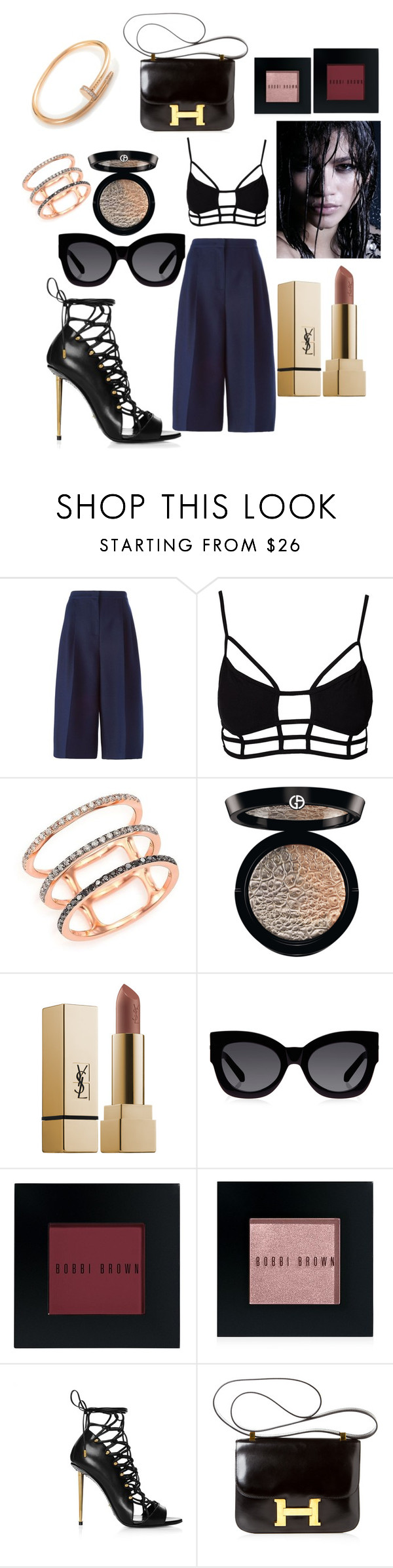 """Untitled #119"" by marinaxmilos ❤ liked on Polyvore featuring Valentino, One Teaspoon, EF Collection, Giorgio Armani, Yves Saint Laurent, Karen Walker, Bobbi Brown Cosmetics, Hermès and Cartier"