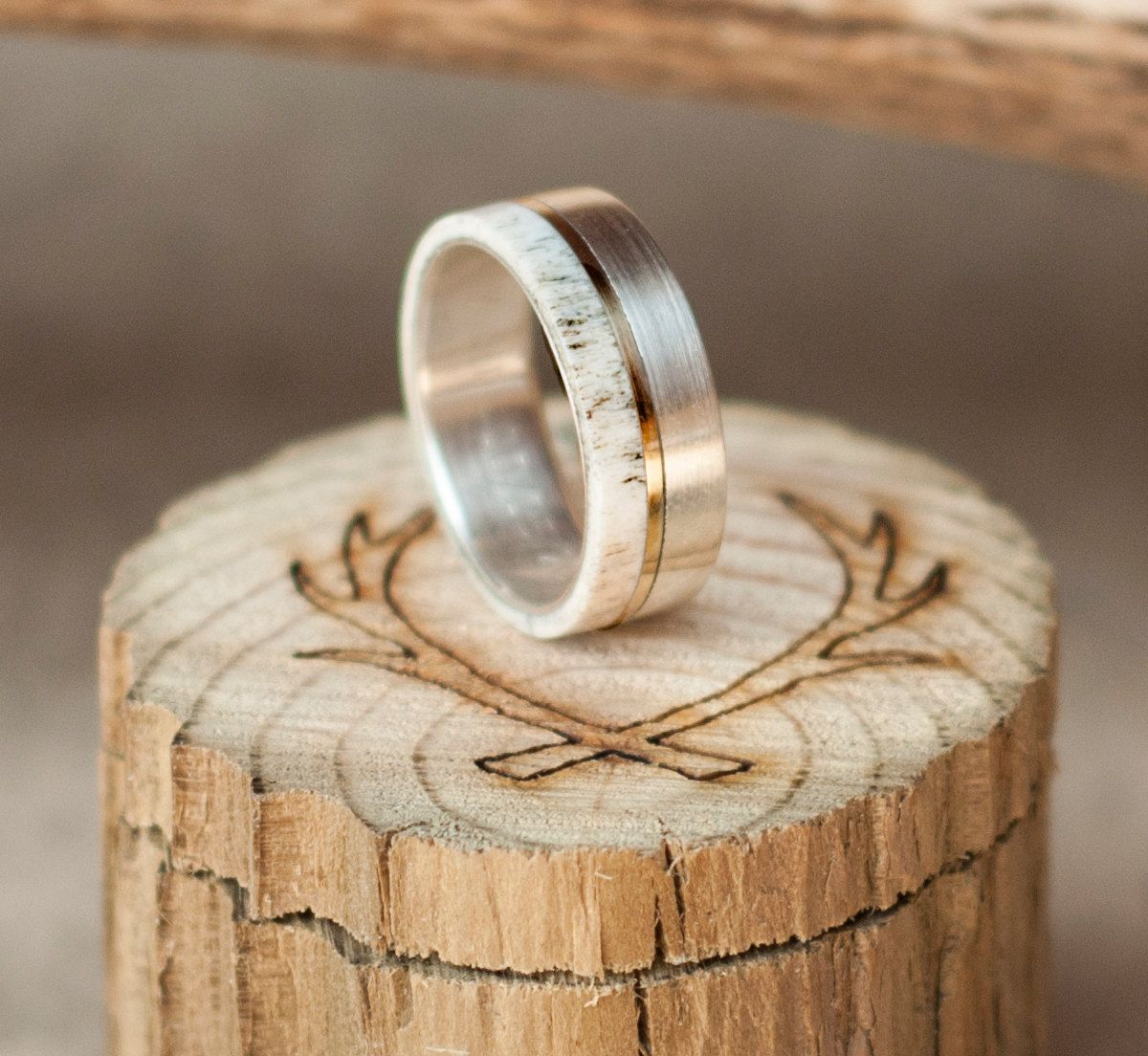 Mens Wedding Band Elk Antler Ring w 10K Gold Inlay Staghead