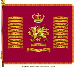 The Royal Regiment of Wales 1st battalion Queens colours flag.