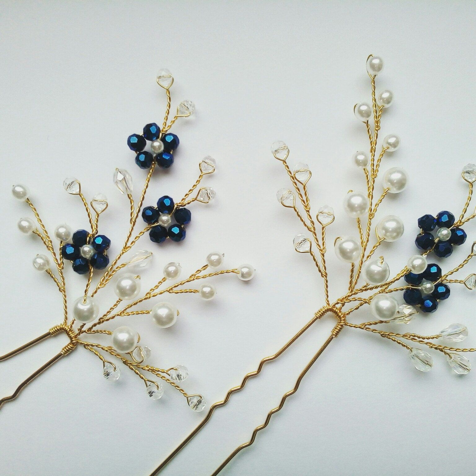 Wedding hairpins Set 2 | Bridal gold hairpins Ivory floral hair piece Bridal hair pins Blue hairpins Aqua flowers hairpin Wedding headpiece #bridalhair