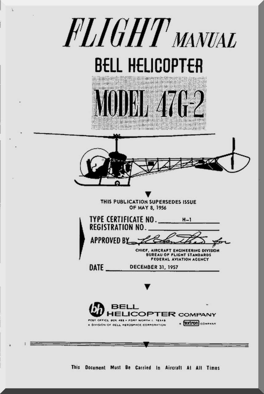 Bell helicopter 47 g 2 flight manual 1957 aircraft reports bell helicopter 47 g 2 flight manual 1957 malvernweather Gallery