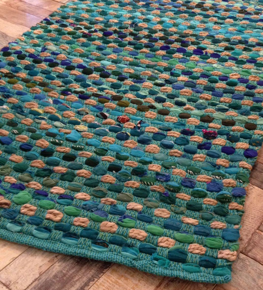 Fair Trade Thick Weave Slub Rag Rugs 90cm X 150cm Green Or Multi Coloured