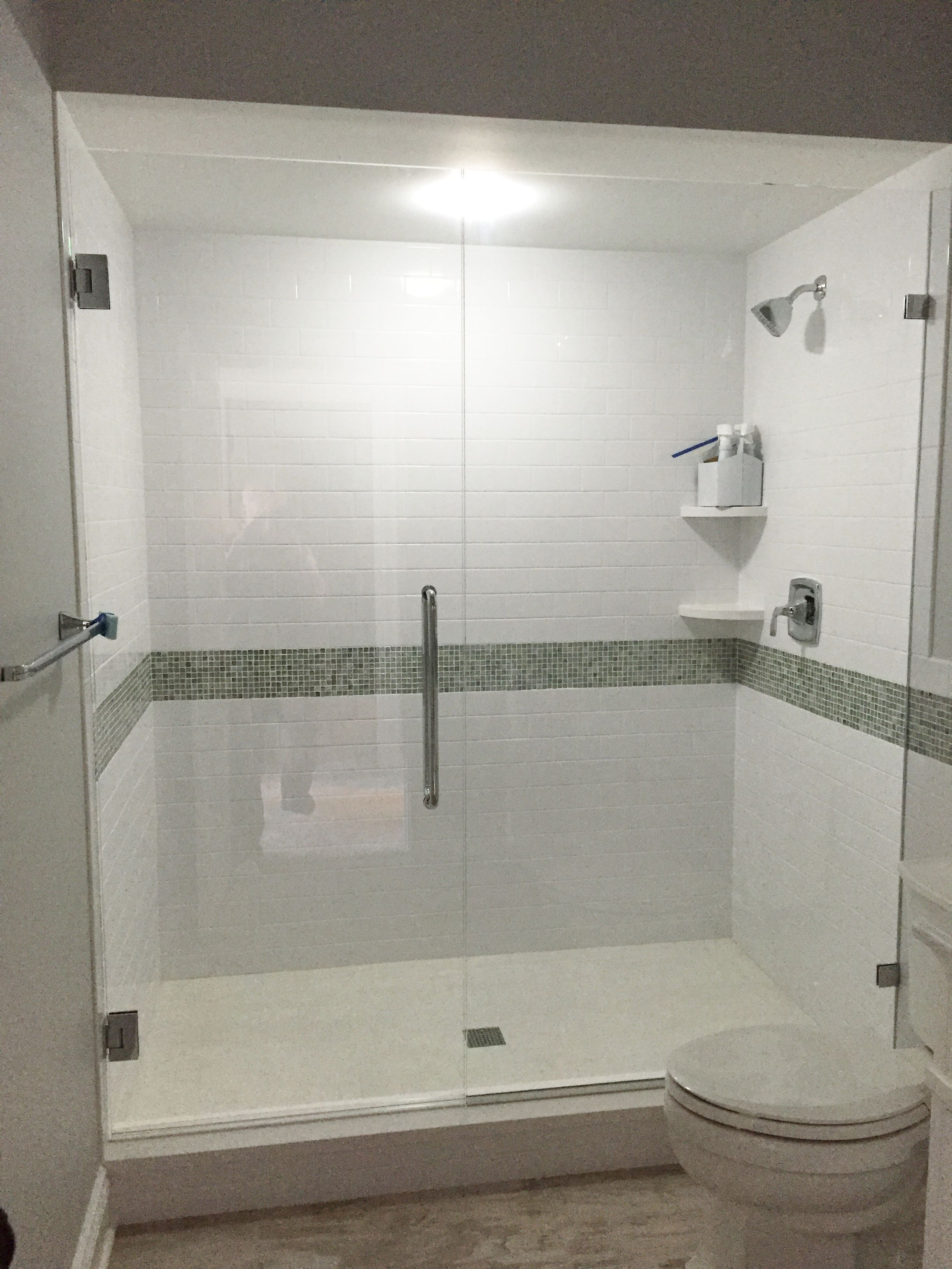 Frameless Shower Enclosure Door Panel With Wall Mount Clips