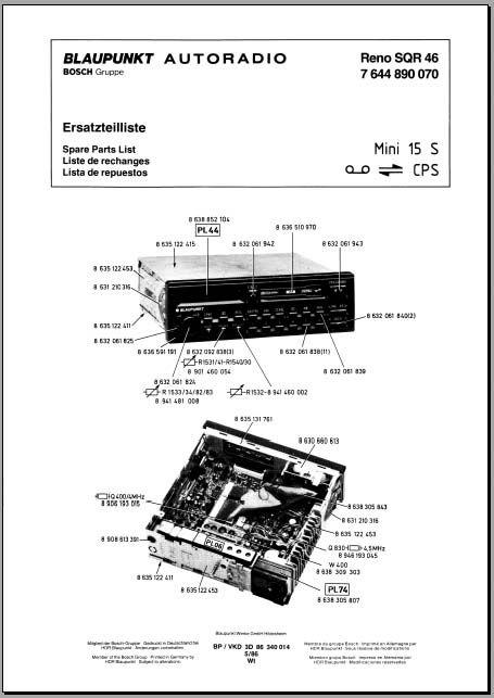 Blaupunkt Reno SQR-46 Parts List, Analog Alley Manuals
