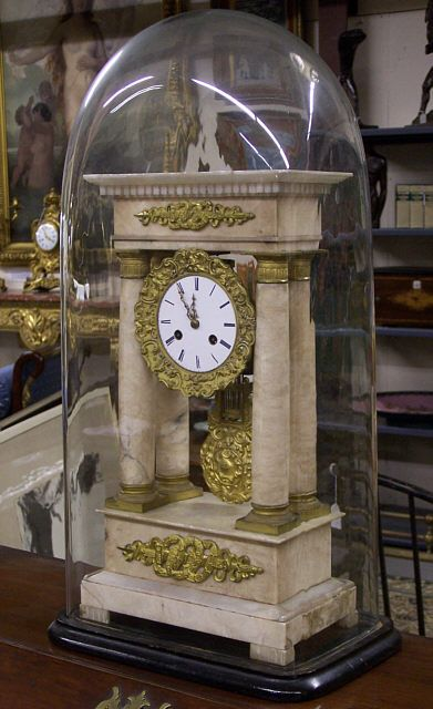 Empire White Marble Column Clock With Glass Dome C 1840
