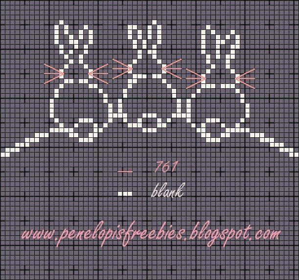3 petits lapins   Point de croix, Broderie et point de ...