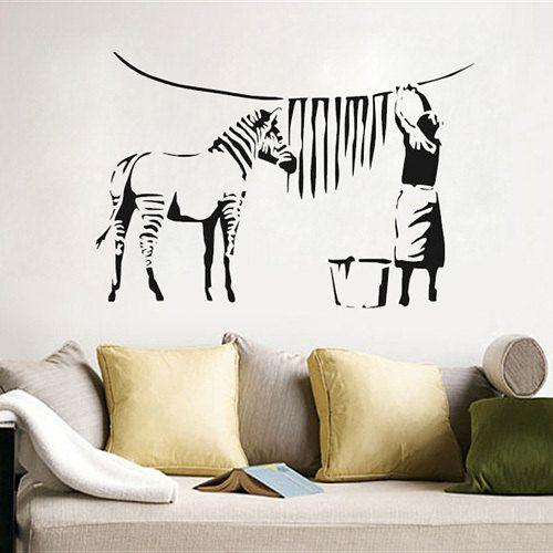 Banksy Zebra Stripes Wash Graffiti Wall Decal Sticker By Decaldent