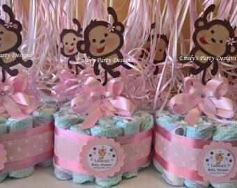 Baby Shower Favors Girl Monkey ~ Pink girl monkey baby shower diapers centerpiece with balloons