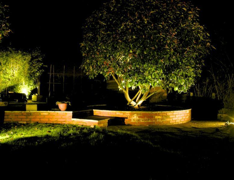 Castle Bromwich Night Lighting Accentuates Curved Walling Outdoor Gardens Design Landscape Design Traditional Landscape