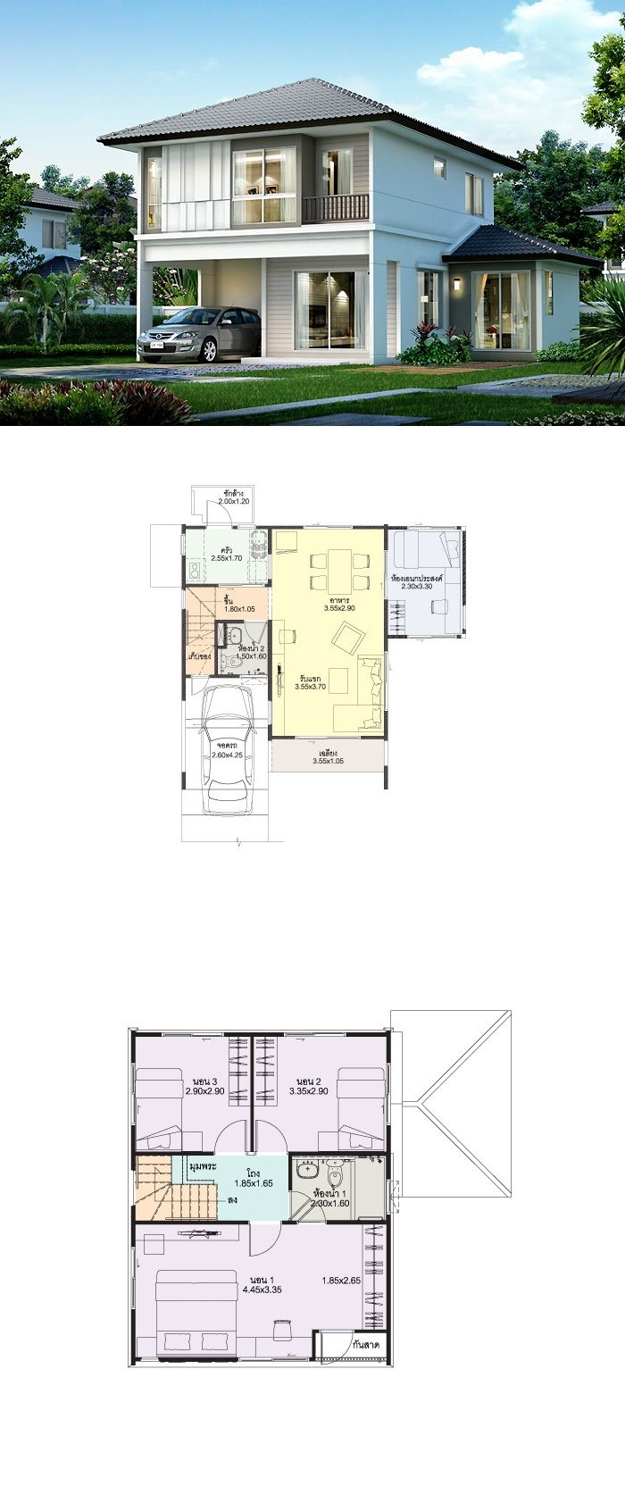 Land and houses thai house design rumah models 2 story houses architecture