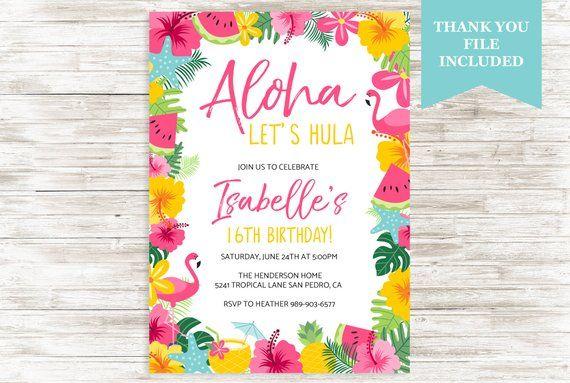 Aloha Luau Invitation Invite Birthday Girl ANY AGE 16th Summertime Tropical Hawaiian Hula Digital 5x