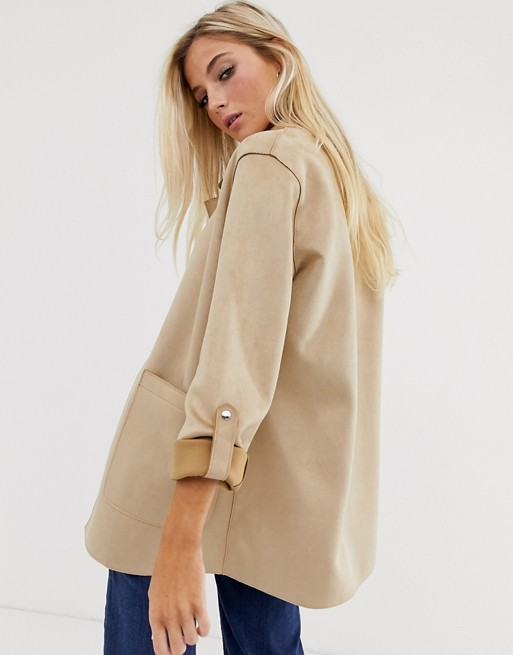 Pull&Bear faux suede throwon jacket in beige ASOS Faux