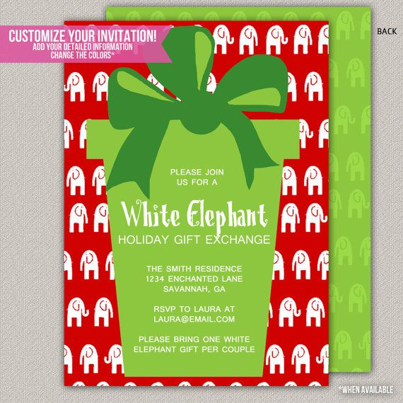 17 Best images about White Elephant Christmas ideas – White Elephant Christmas Party Invitations