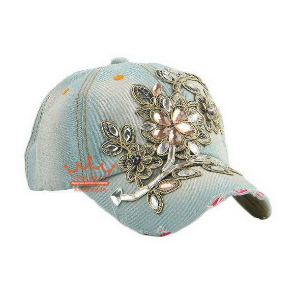 49b80a0ca069c New fashion rhinestone floral denim women baseball caps wholesale woman hip  hop snapback hats girl brand casual cap gorras