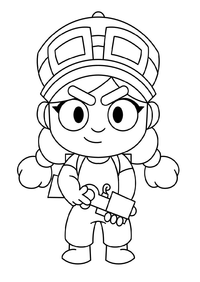 Jessie Drawing High Quality Free Coloring Page From The Category Brawl Stars More Printable Pictures Star Coloring Pages Coloring Pages Free Coloring Pages