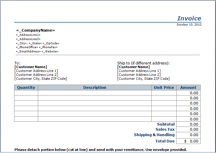 Stub Invoice Template  Janitorial    Template