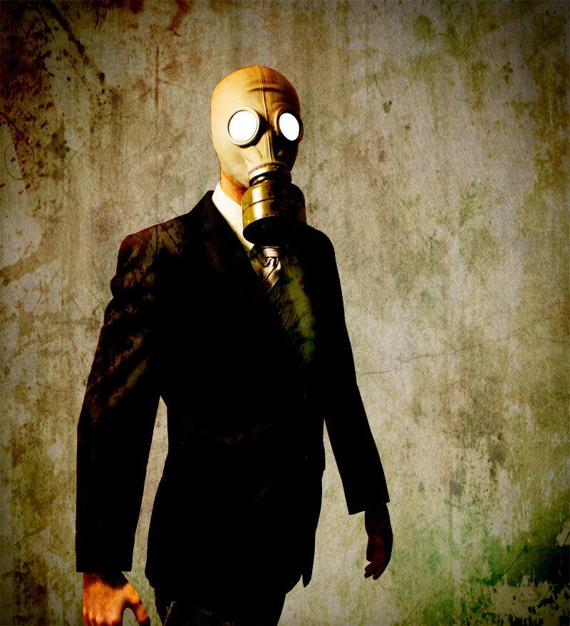 Businessman with a gasmask by TheOfficeboy