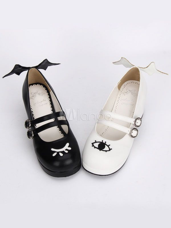 a7b1ec5da9760 Lolitashow Gothic Lolita Shoes Double Strap Evil Wings Mary Jane Shoes