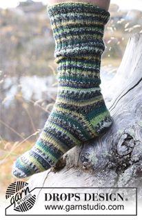 """DROPS sokker til herrer med Rib og glatstrik i 1 tråd """" Fabel"""". ~ DROPS Design"""