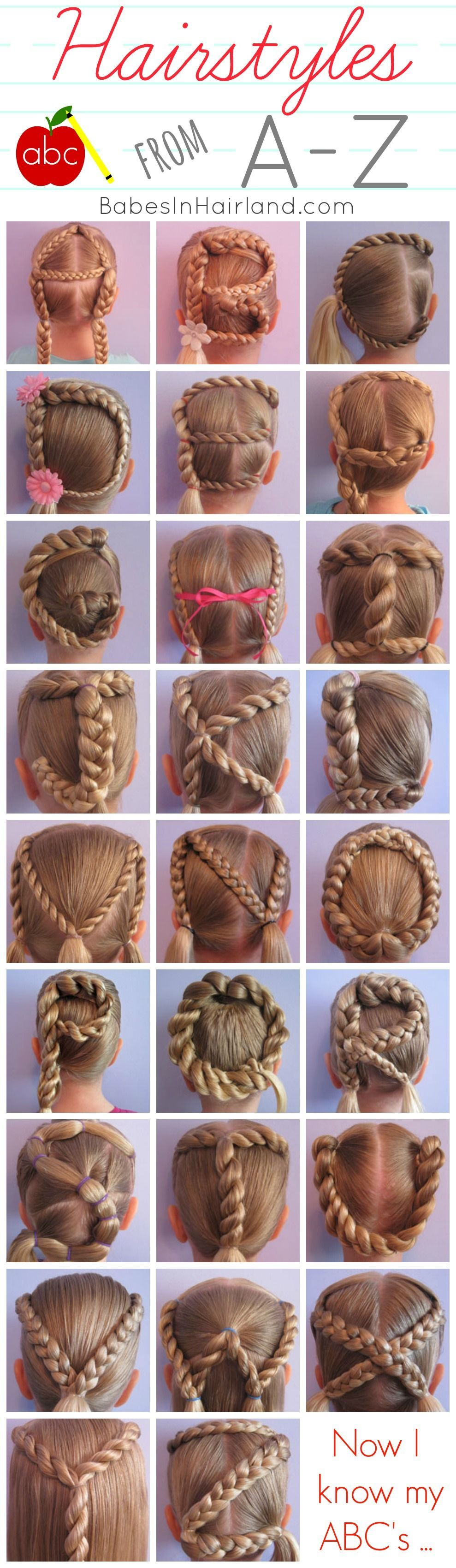 Hairstyles from A-Z from  - perfect if you have younger girls & want to make learning the ABC's even more fun!