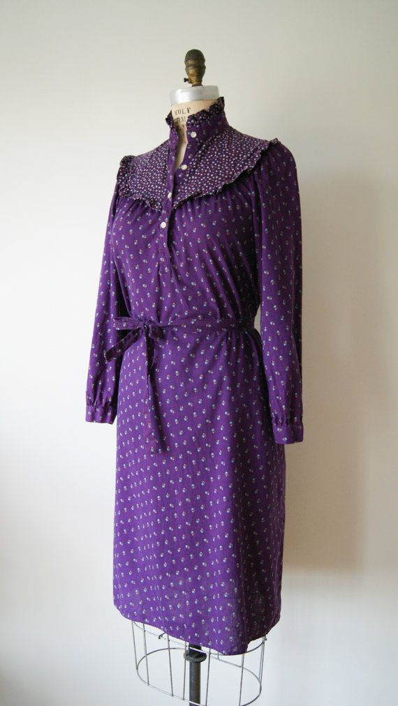 70s Dress. Vintage Dress. Purple Dress. by NewOldFashionVintage