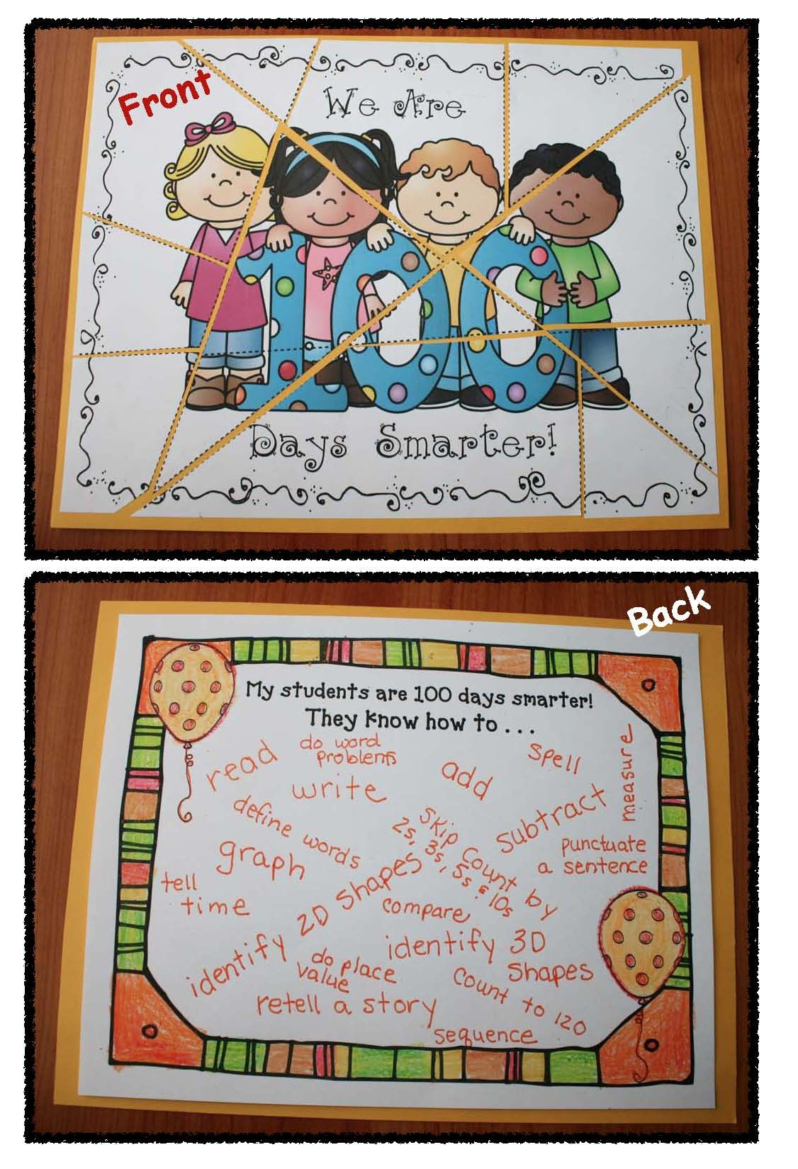 Print And Go 100 Day Activities