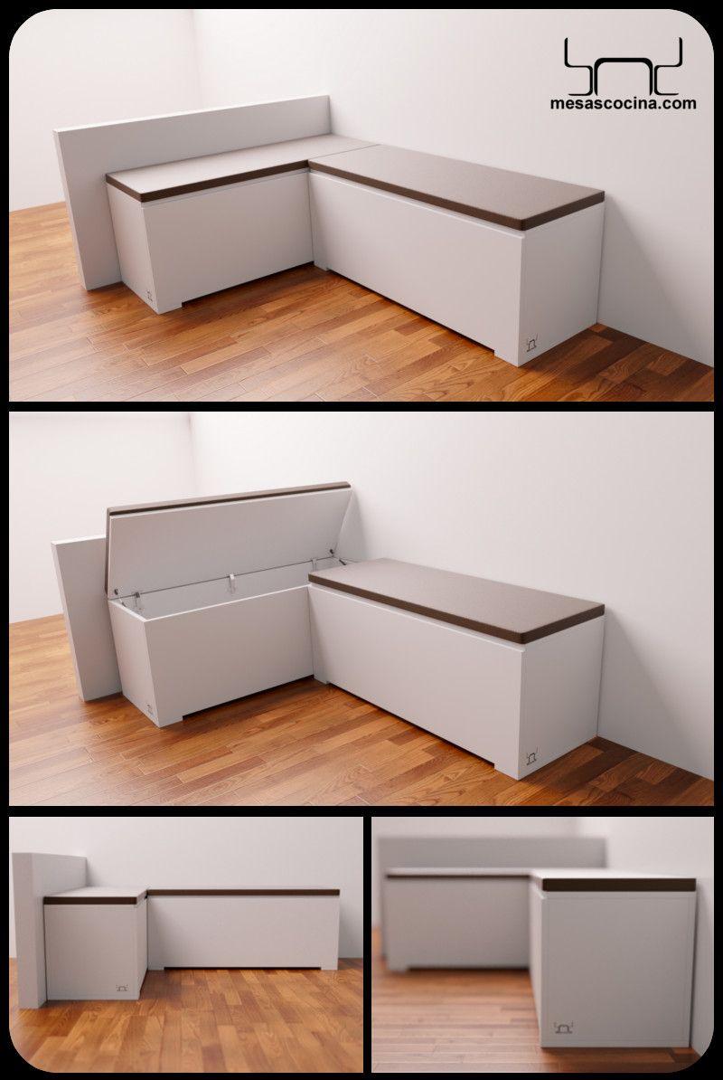Banco rinconera de cocina Endor con asiento tapizado en ...