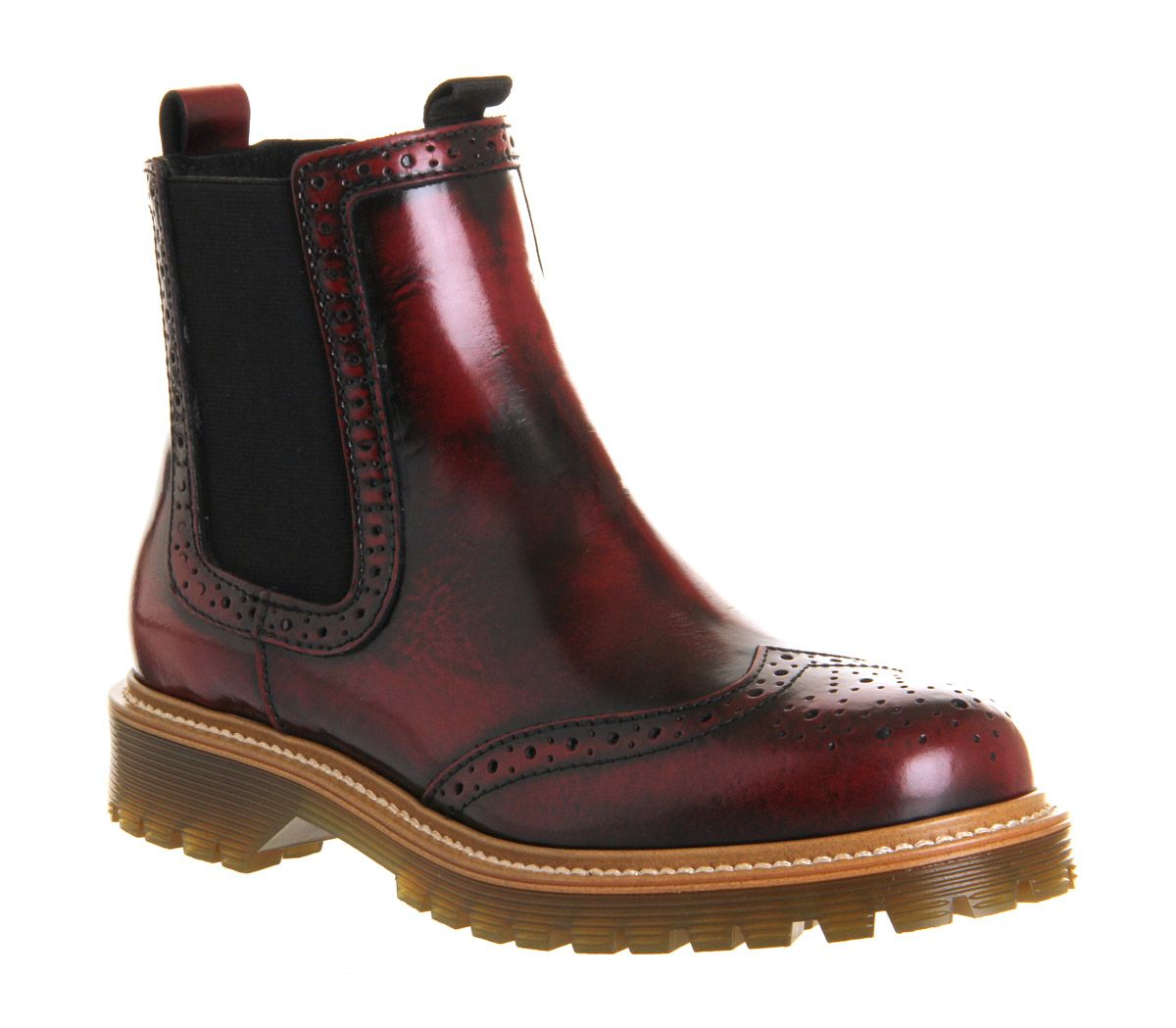 Office Charlie Brogue Chelsea Boot Burgundy Leather - Ankle Boots