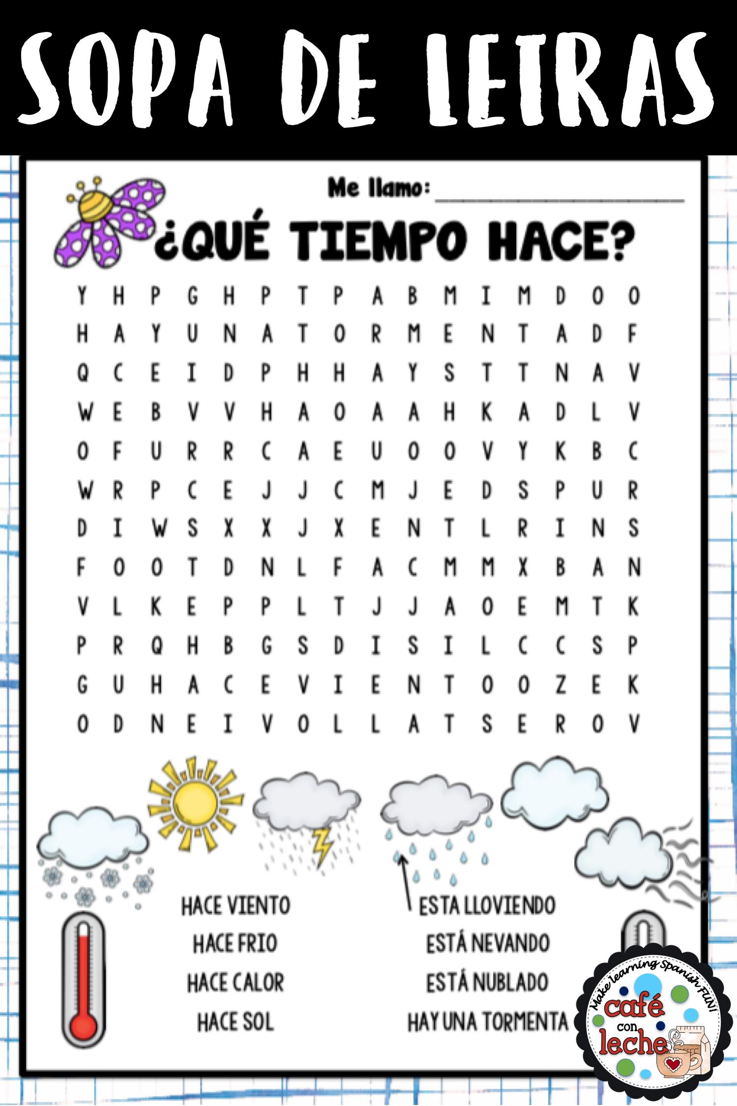 Sopa De Letras Del Tiempo Weather Spanish Word Search