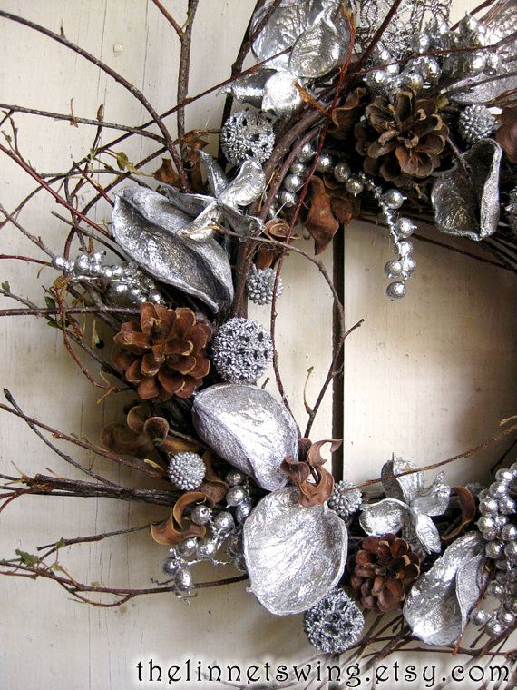 Silver Grove Wreath  Winter Wreath  Christmas by TheLinnetsWing, $64.00