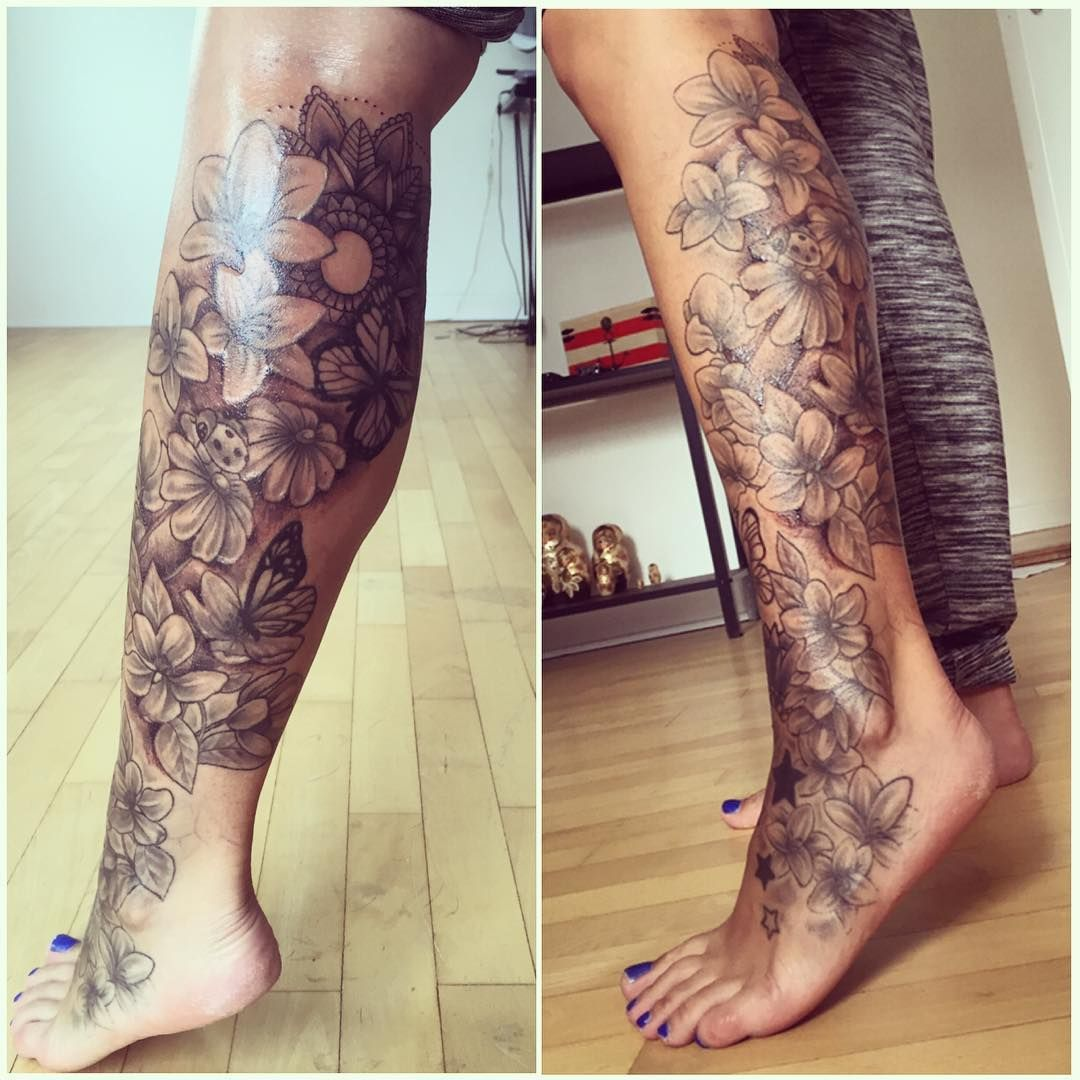 Flower Leg Tattoos: Beautiful Bottom Half Of A Leg Sleeve