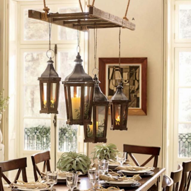 Love this idea except hang the ladder and lanterns in a for Rustic outdoor chandelier