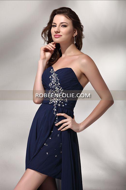 robe de soir e pour mariage de longueur asym trique en mousseline bleu nuit avec tr s belle. Black Bedroom Furniture Sets. Home Design Ideas