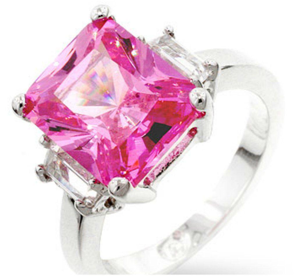 Nicki Pink Triplet Engagement Ring | 8ct | Cubic Zirconia | Triplets ...