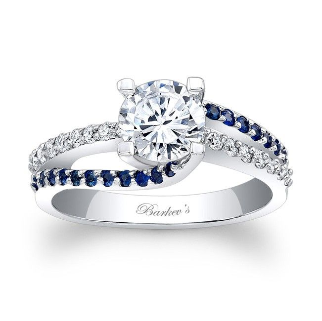 Engagement Ring With Blue Sapphires 7677LBSW A classic design