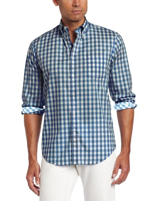 376a69245f4acf Amazon.com: LINCS DC & Co Men's Long Sleeve Button Down Collar Gingham  Woven Shirt: Clothing