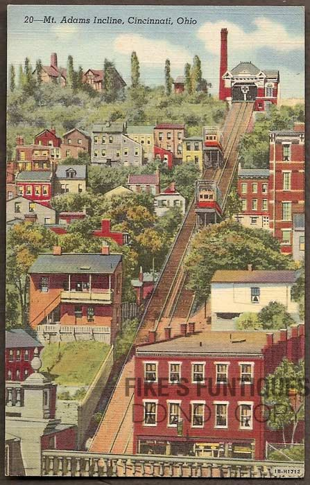 Cincinnati Ohio Vintage Linen Postcard Mt Adams Incline Unused Cincinnati Ohio And