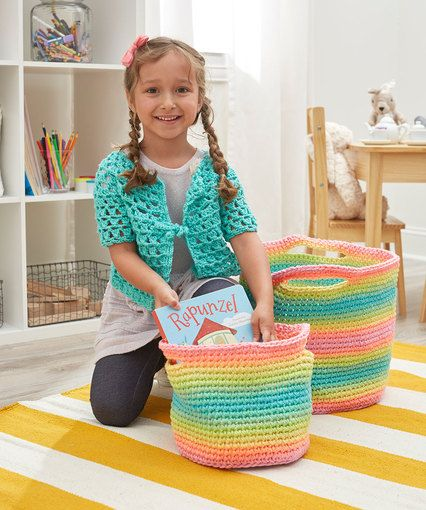 Free Pattern: Striping Fun Crochet Baskets - Red Heart | Crochet ...
