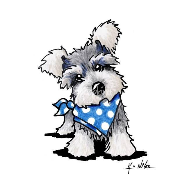 Kawaii Dibujos De Perros Para Pintar Schnauzer In Dots By Kim Niles Dibujos Bonitos Dibujos De