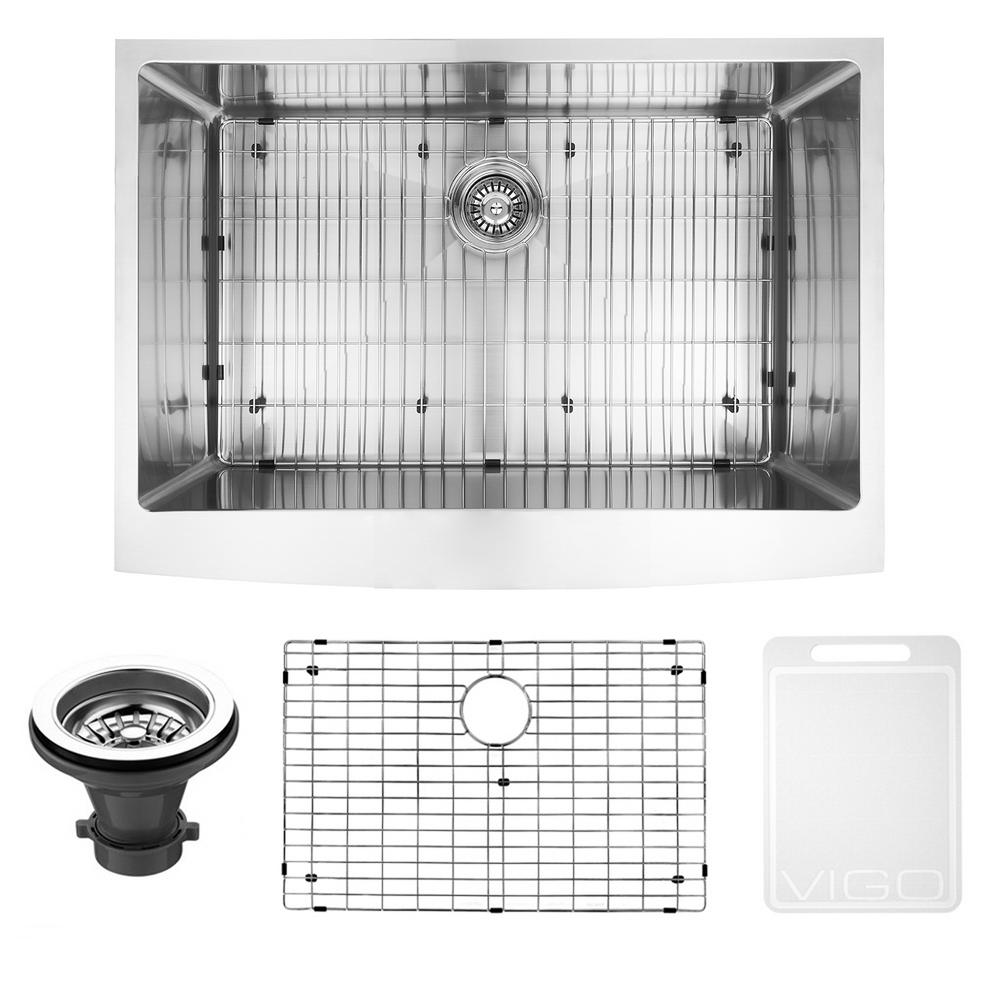 Vigo Bedford Farmhouse Stainless Steel 30 In 0 Hole Single Bowl Kitchen Sink With 1 Grid 1 Strainer In Stainless Steel Vgr3020ck1 Apron Sink Kitchen Undermount Stainless Steel Sink Steel Kitchen Sink