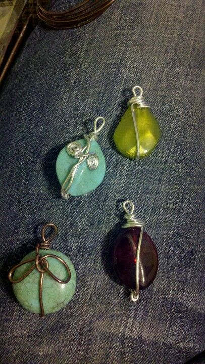 Wire wrapped stone pendants :-)   my creations   Pinterest   Wire ...