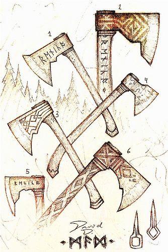 David Delagardelle Vikings Axe Drawing Viking Art
